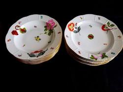 Herendi gyümölcs mintás 6 db lapos tányér és 6 db mély tányér