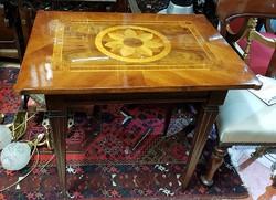Antik egy fiókos intarziás asztal