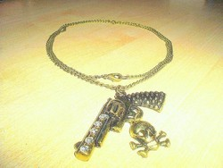 Pisztoly-Koponya Uniszex nyaklánc 70 cm!!
