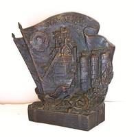 Ukrán bronz plakett.ЗАПОРОЖСТАЛЬ 1933