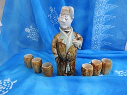 Italos készlet - rumtartó figurás butélia kupicákkal