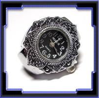 Ródiummal bevont   gyűrű, működő órával EBGY-Ó03-1