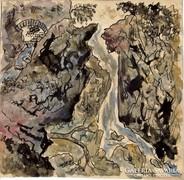 Tivoli vízesés, tus-akvarell papír,15 x 15 cm Háry Gyula