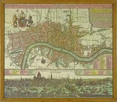 0W787 Régi keretezett reprint London térkép
