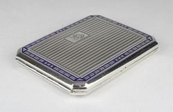 0W756 Régi zománcozott ezüst cigaretta tárca dózni