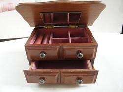 Fából készült tükrös, fiókos ékszeres doboz, ládika