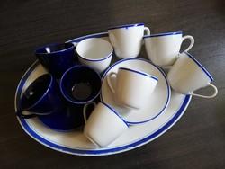 Hollóházi kék kontúros fehér porcelán mokkás + ajándék süteményes és kék csészék