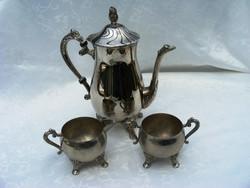Szépséges, ezüstözött, régi, angol tea vagy kávé szervírozó készlet, kanna, kiöntő és cukortartó