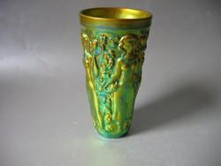 Zsolnay szüretelő pohár, pajzspecsétes (15,7 cm)