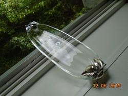 Újszerű,modern,ezüsttel laminált földieper szemekkel kristály üveg  dísztál-31,5x9,5 cm