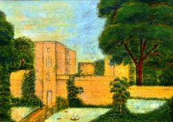 Ismeretlen festmény, olaj vászon kartonon, 33 x 45,5 cm, jelzés nélkül, 1900.k.