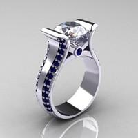 Fehér köves gyűrű, oldalt apró kék kövekkel díszítve 7-es ÚJ!