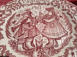 Csodálatos karácsonyi angol porcelán tál