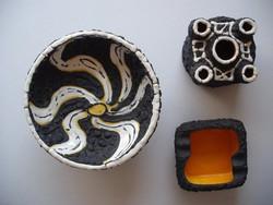 KIRÁLY KERÁMIA szett, asztalközép, hamutartó és gyertyatartó, különleges, egyedi darabok