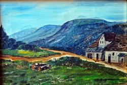 Felvidéki táj festmény, 1900.k., olaj vászon, 17 x 25 cm, jelzés nélkül