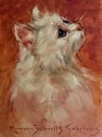  Rainerné Istvánffy Gabriella (1875 - 1964) Angóra macska portré olaj farost nagyon szép