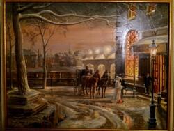 Nosztalgia kávézó előtt - jó kvallítású festmény