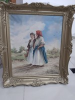 Régi festmény sétáló asszonyok