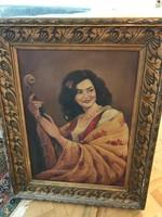 Olaj-vászon festmény: Lány hegedűvel, Bakonyi Piros József festőművésztől