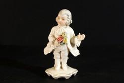 ENS Porcelán Barokk Figura Udvarló Fiú Férfi Csokorral Hibátlan 12,5cm