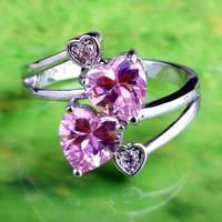 Gyűrű rózsaszín szív alakú kövekkel  8-as (57)  ÚJ!