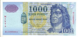 1000 forint 1998 MINTA UNC 0000111 sorszám