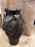 Szecessziós nő alakos bronz váza