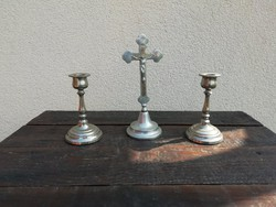Asztali feszület,  gyertyatartó párral