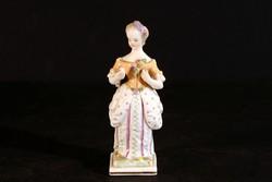 Antik 19.sz. Nymphenburg Porcelán Figura Kislány Nő 10,5cm Hibátlan