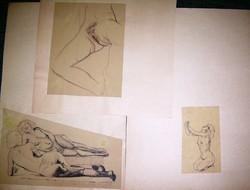 Ismeretlen művész aktok, tanulmány tollrajz, ceruzarajz 3 db