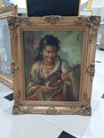 Régi festmény hegedülő cigány nő