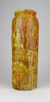 0W994 Régi mázas retró barna kerámia váza 23.5 cm