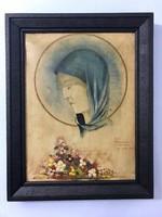 Szép szecessziós madonna virágcsokorral Hans Meganck 1942