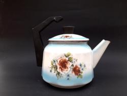 Régi zománcos bakelit nyeles bádog teáskanna rózsamintával