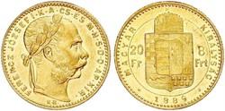 Arany 8 Forint (20 Frank) I. Ferencz József 1889 Körmöczbánya
