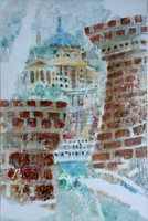 Susan Dobay - Bástya 90 x 60 cm akril, vászon