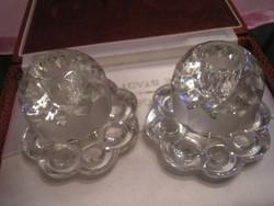 Csiszolt opálüveg gyertyatartó pár ritkaság