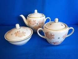Nagyon régi Orosz porcelán kávékiöntő, cukortartó, bonbonier