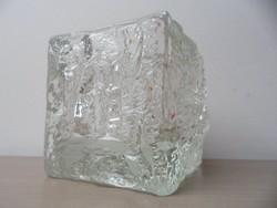 2 db jégkocka, jégtömb formájú svéd gyártmányú üveg mécsestartó