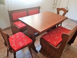 Tömör tölgy étkező garnitúra pakolható padokkal + 2 szék
