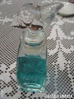 Parfümös üveg , szép tetővel.  Egy darab aranyos rózsaszínű ibolya váza és egy
