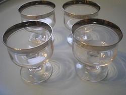 U7 4 db vastag ezüst perem díszes pohár  ritkaság kuriózum