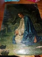 Ősöreg, meditálós témájú kis festmény, olaj, vászon, cirkalmas szignóval, 33 cm