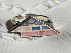 Ezüst 925-ös exravagáns kagylóberakásos gyűrű