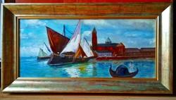 Ismeretlen, CSONTVÁRY ? - Velence festmény, 1900.k., 22 x 49,5 cm, jelzés nélkül