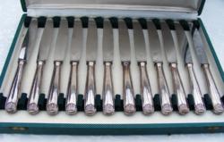 Fenséges, ezüstözött nyelű kés készlet 12 személynek, gyönyörű, legyezőmintás markolattal