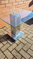 Modern art deco style króm-üveg asztal