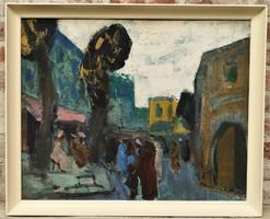 Dombrovszky Szaniszló (1928-2004) Kairói utca: c. Képcsarnokos olajfestménye EREDETI GARANCIÁVAL !