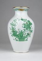 0X024 Zöld indiai kosaras Herendi porcelán váza