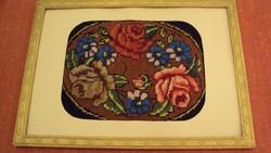 Antik, rózsa mintás gobelin kép, paszpartuba foglalva - (faragott keretben,üveggel védve)